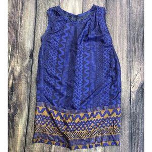 Anthro Whit Blue 100% Silk Tribal Draped Dress